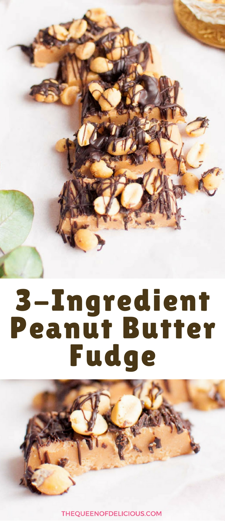 Love this easy and healthy peanut butter fudge! It's made with only three ingredients. Take the fudge to the next level by adding melted chocolate and salted peanuts.