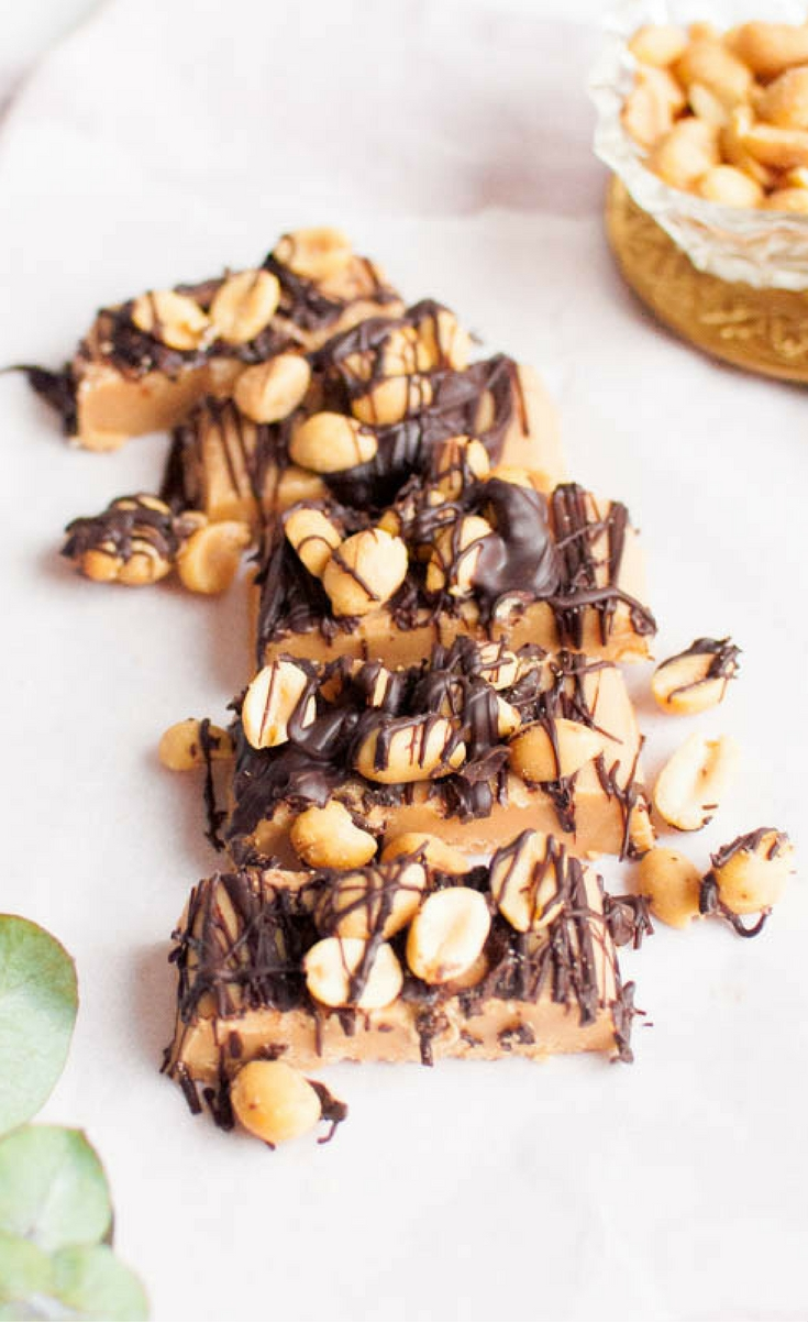 Love this easy and healthy peanut butter fudge! It's made with only three ingredients. Take the fudge to the next level by adding melted chocolate and salted peanuts