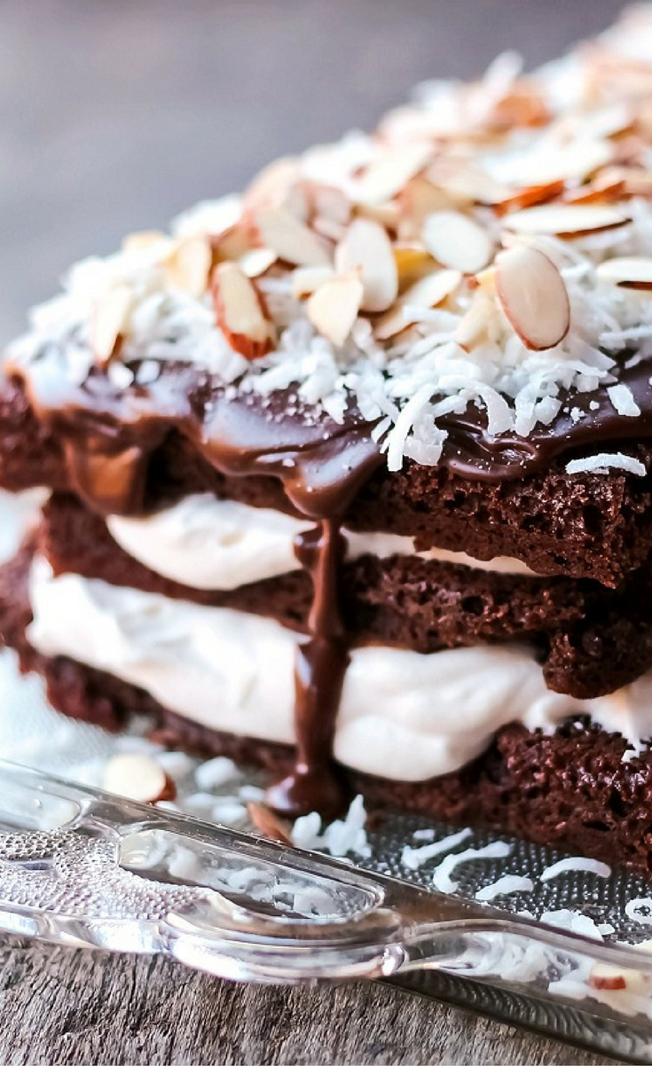 Almond Joy Chocolate Torte…chocolate cake with a whipping cream filling topped with a chocolate glaze and garnished with coconut and almonds.  This torte is not only delicious but so very EASY to make!
