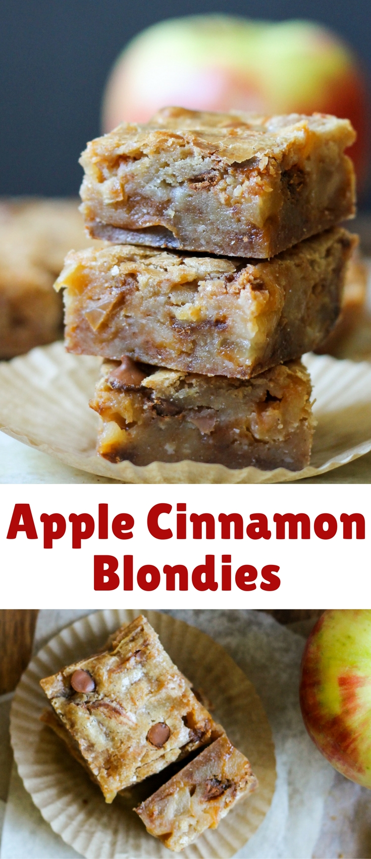 These Apple Cinnamon Blondies have sautéed apples and cinnamon chips for the ultimate portable fall treat!