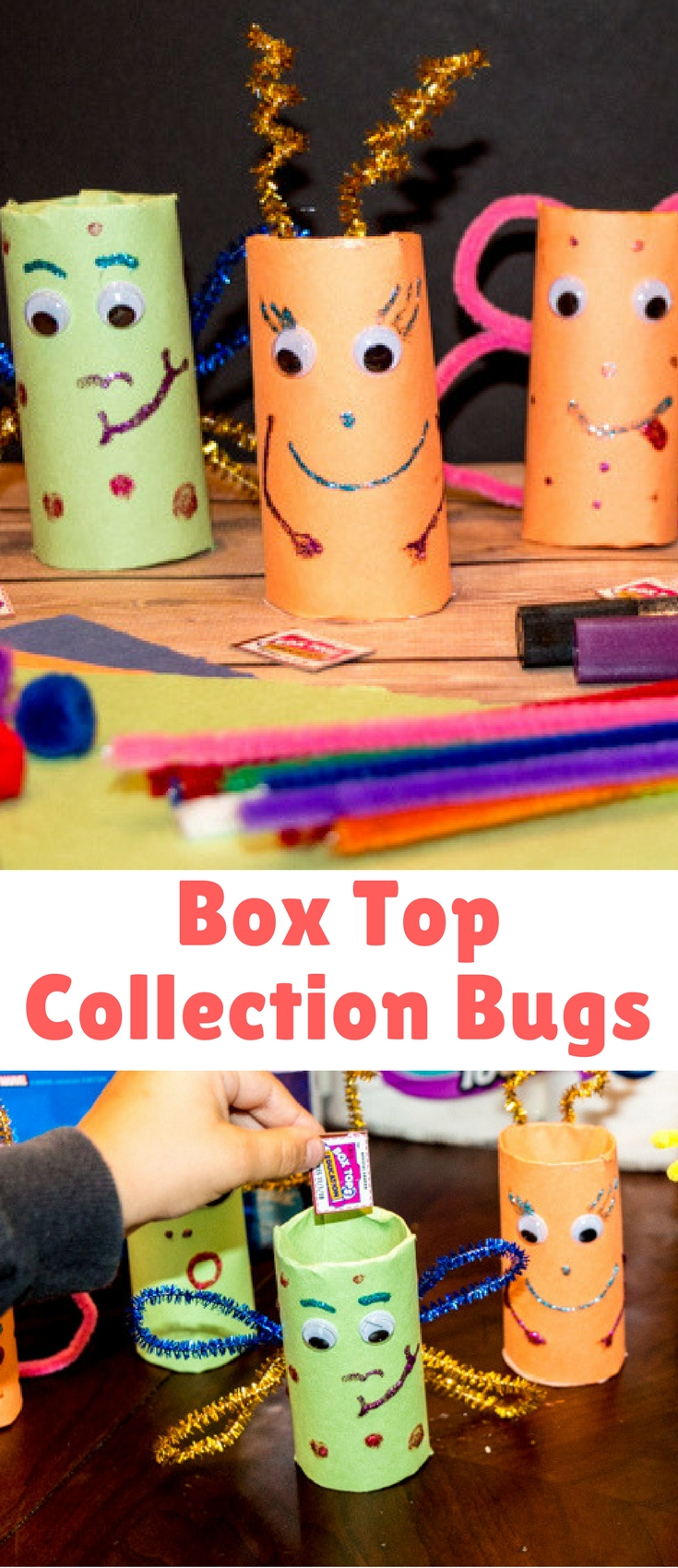 These Box Top Bugs are really easy to make – so easy I've even done them in a classroom for students to take home, making it a great class mom or PTA initiative to remind parents about the program.