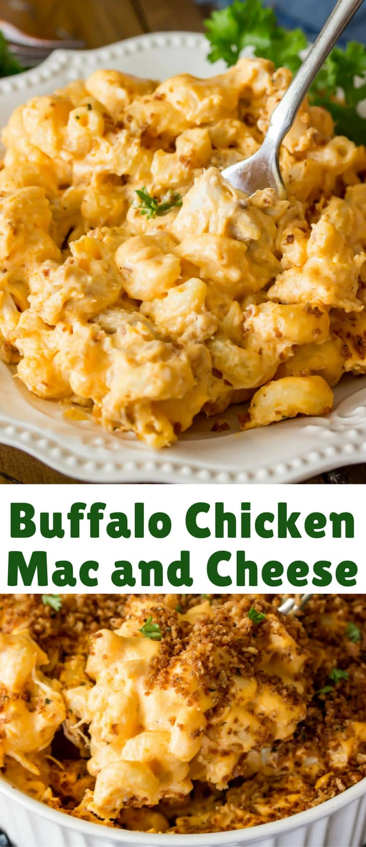 A creamy, spicy buffalo chicken mac and cheese topped off with a buttery toasted panko. Be sure to check out the video just above the recipe for a super quick and easy visual how-to guide!