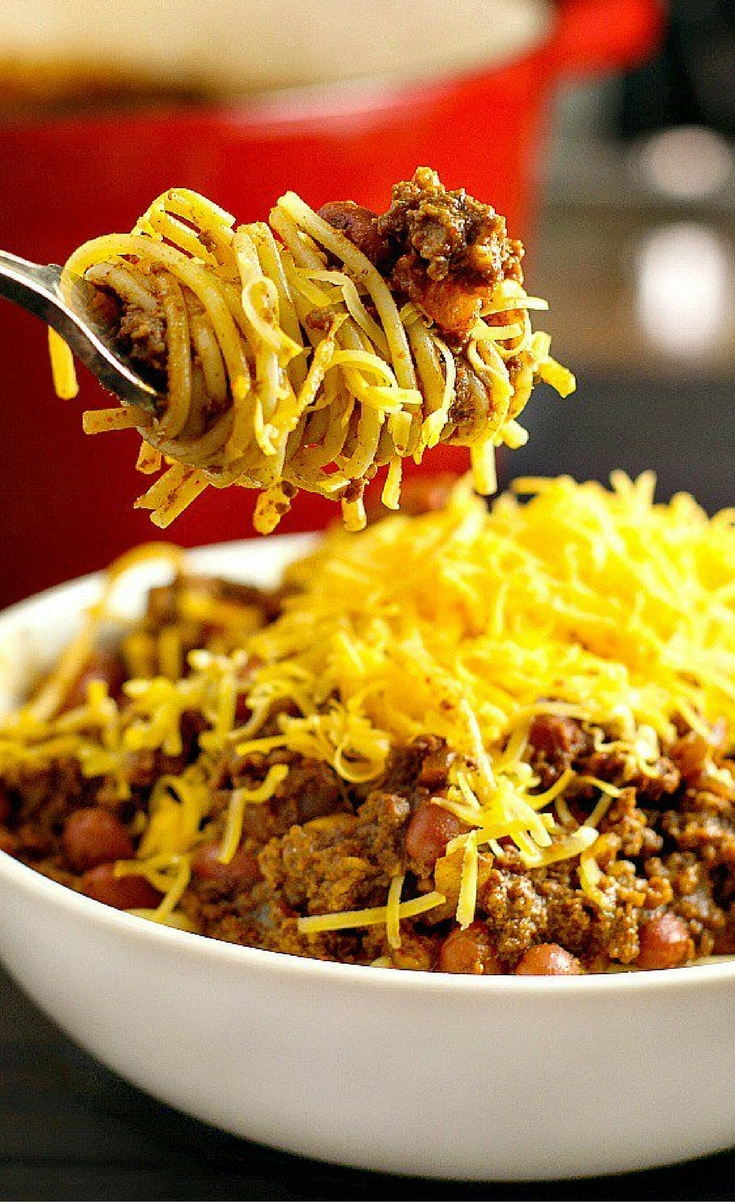 Cincinnati Chili...a delicious ground beef chili with a unique flavor combination!