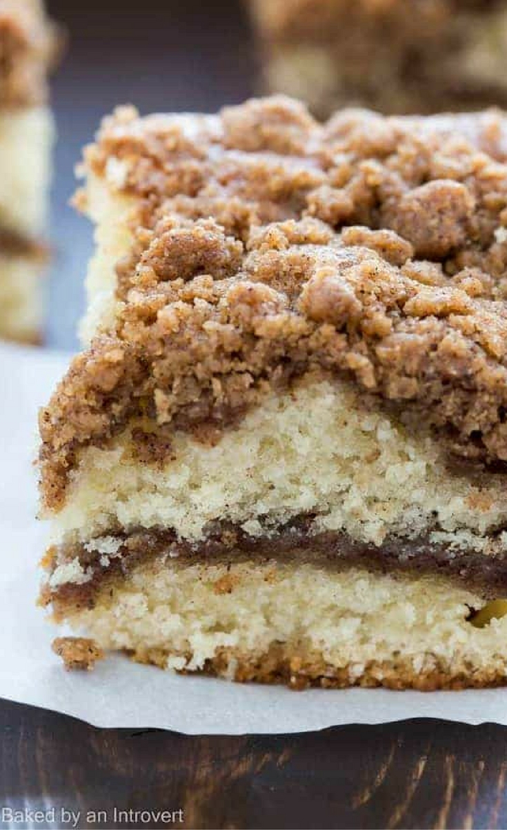There is absolutely nothing better than waking up in the morning and enjoying a slice of warm coffee cake. This Cinnamon Crumb Coffee Cake is so perfect with a cup of coffee, it's the best way to start your day!