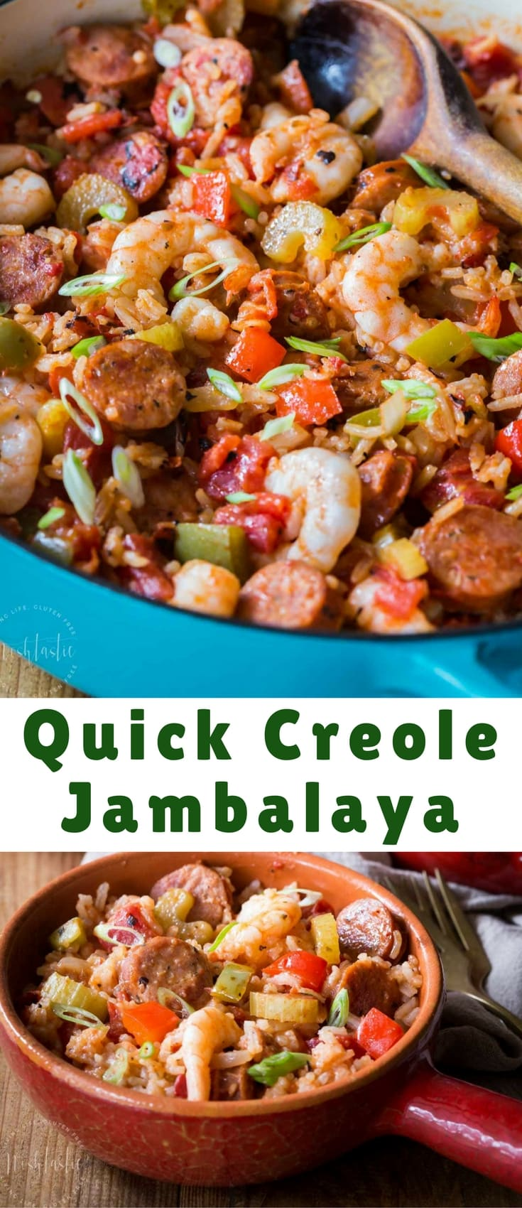 You can make this authentic homemade Creole Jambalaya Recipe really quickly on your stovetop, it's flavor packed with bell peppers, celery, onions, spices, Andouille sausage and shrimp, you'll love it! gluten free and dairy free.