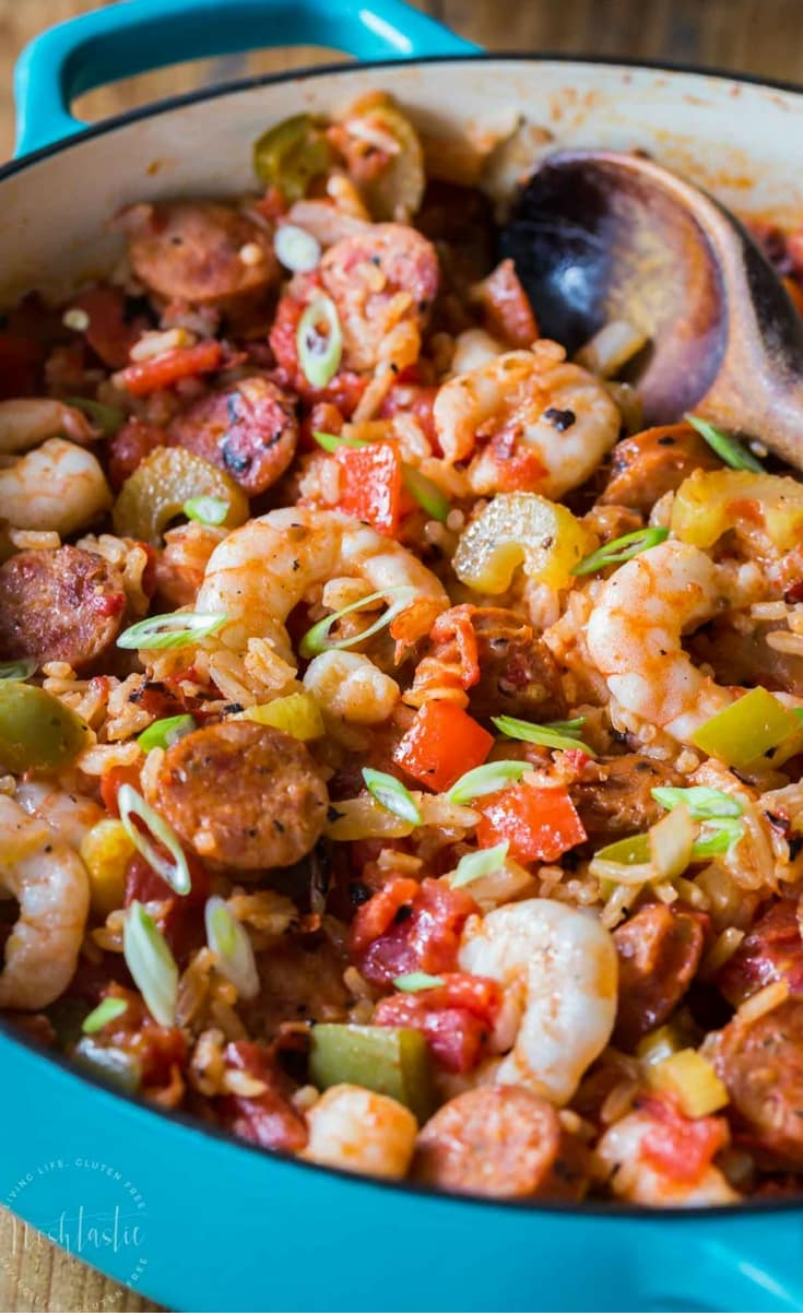 You can make this authentic homemade CreoleJambalaya Recipe really quickly on your stovetop, it's flavor packed with bell peppers, celery, onions, spices, Andouille sausage and shrimp, you'll love it! gluten free and dairy free.