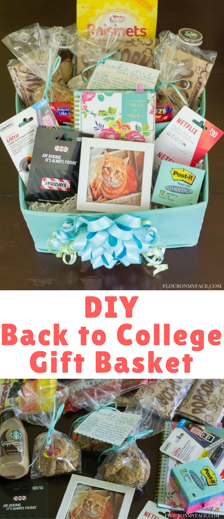 As college students are getting ready to head back to campus after the long summer break send them back to school with this easy DIY College Gift Basket packed full of some of their favorite things from home.