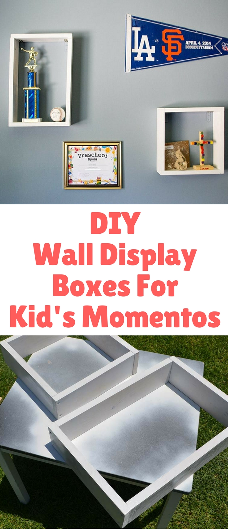 This is such an easy DIY Wall Display Boxes for Kid's Mementos. They keep their prized possessions up and out of the way in small spaces.