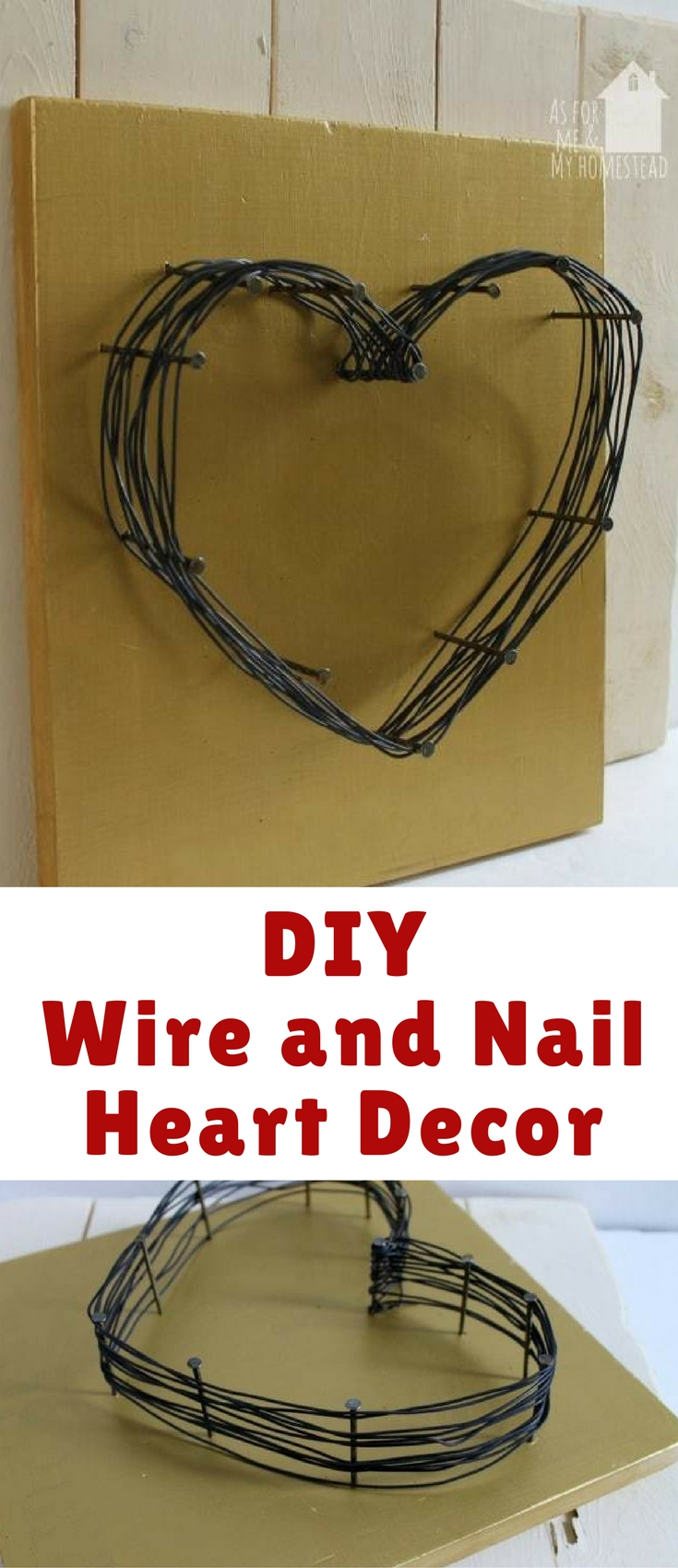 Rustic and simple wire and nail heart decor is easy decor on a small budget!