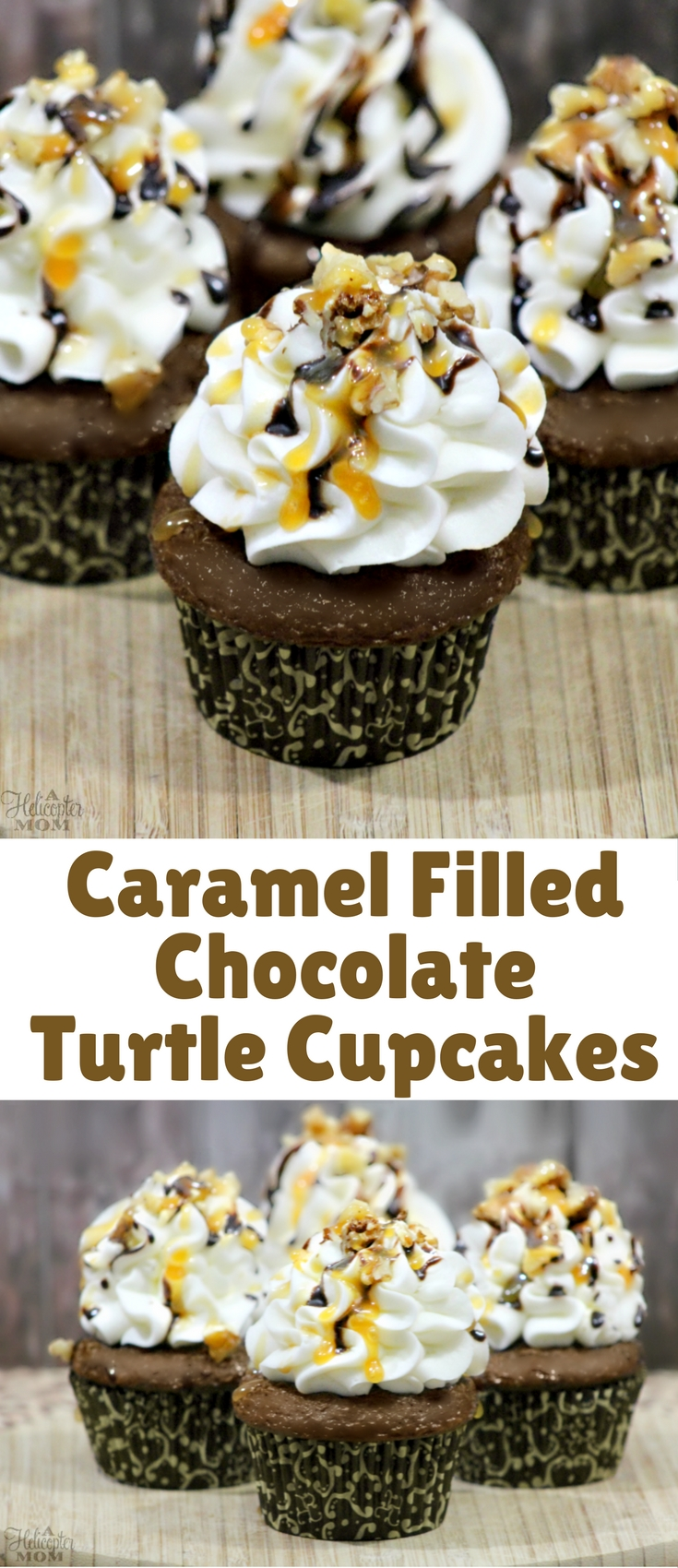 These cupcakes are to die for! A rich chocolaty cupcake stuffed with caramel, then topped with a buttercream frosting. Next, hot fudge and caramel sauce is drizzled over the top and pecans are added for the final touch.