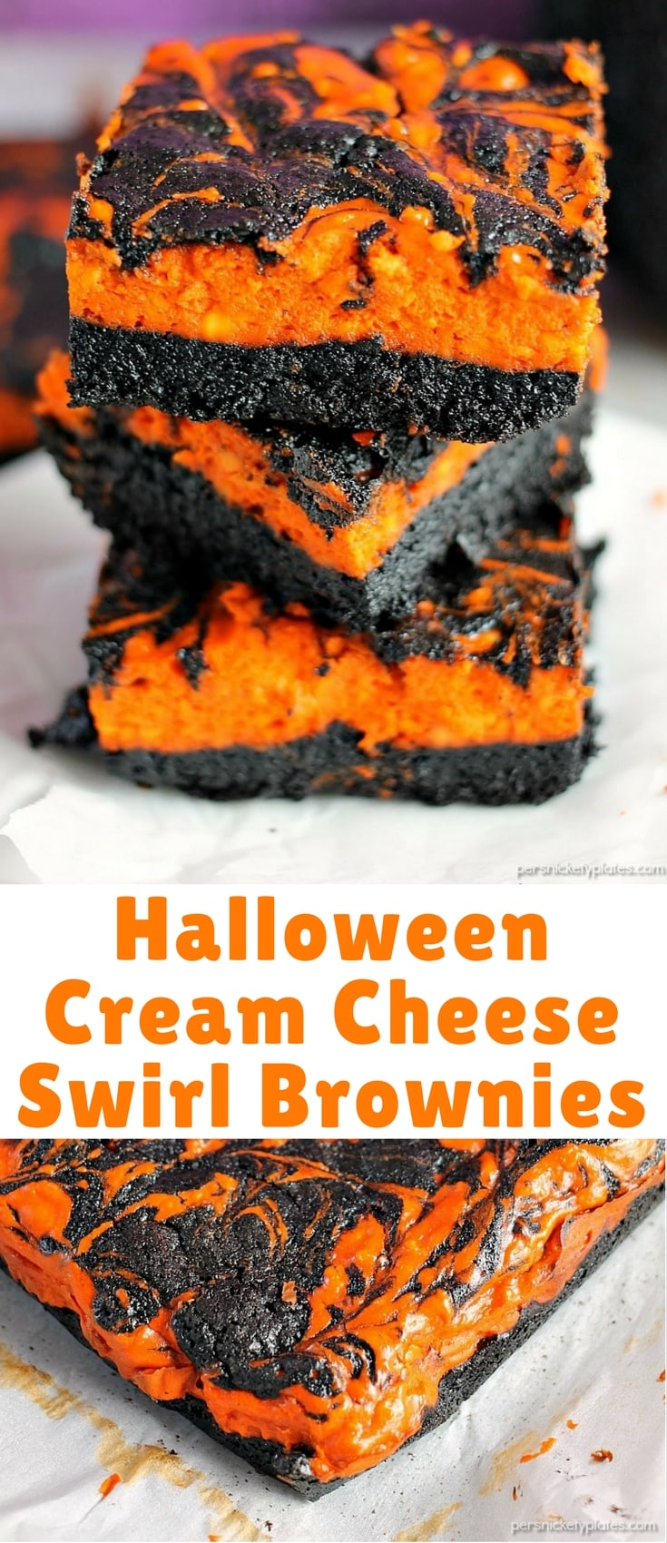 Halloween Cream Cheese Swirl Brownies have a layer of rich, dark chocolate brownie topped with a layer of orange cheesecake then swirled together for a spooky treat.