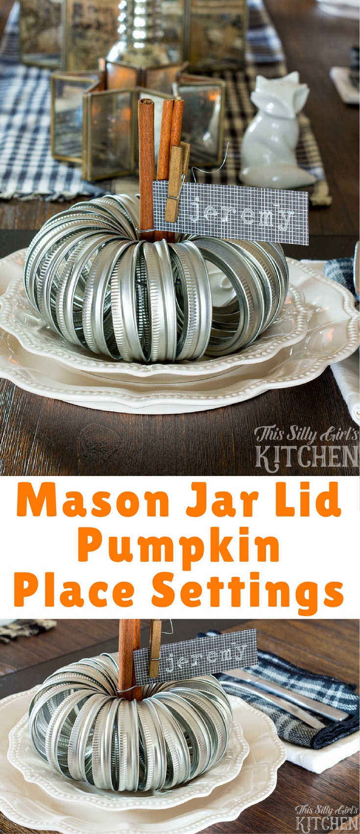 Mason Jar Lid Pumpkin Place Settings, a super cute and crafty place setting for your Thanksgiving tablescape!