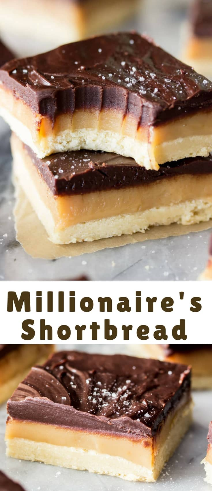 This Millionaire's Shortbread is the perfect trifecta: Sweet simple, crisp shortbread, rich chewy, homemade caramel, and thick dark chocolate ganache. Sprinkle everything off with a scattering of sea salt and you have a decadently rich treat that lives up to every penny of its lucrative name.