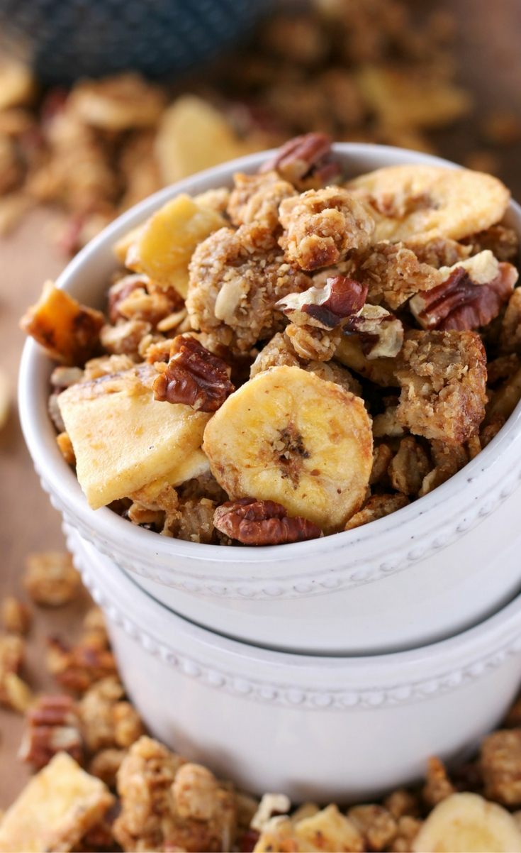 No need to turn on your oven to make this Peanut Butter Banana Bread Granola! This healthier granola is made in a skillet on the stovetop and is filled with all the warm, comforting flavors of banana bread!
