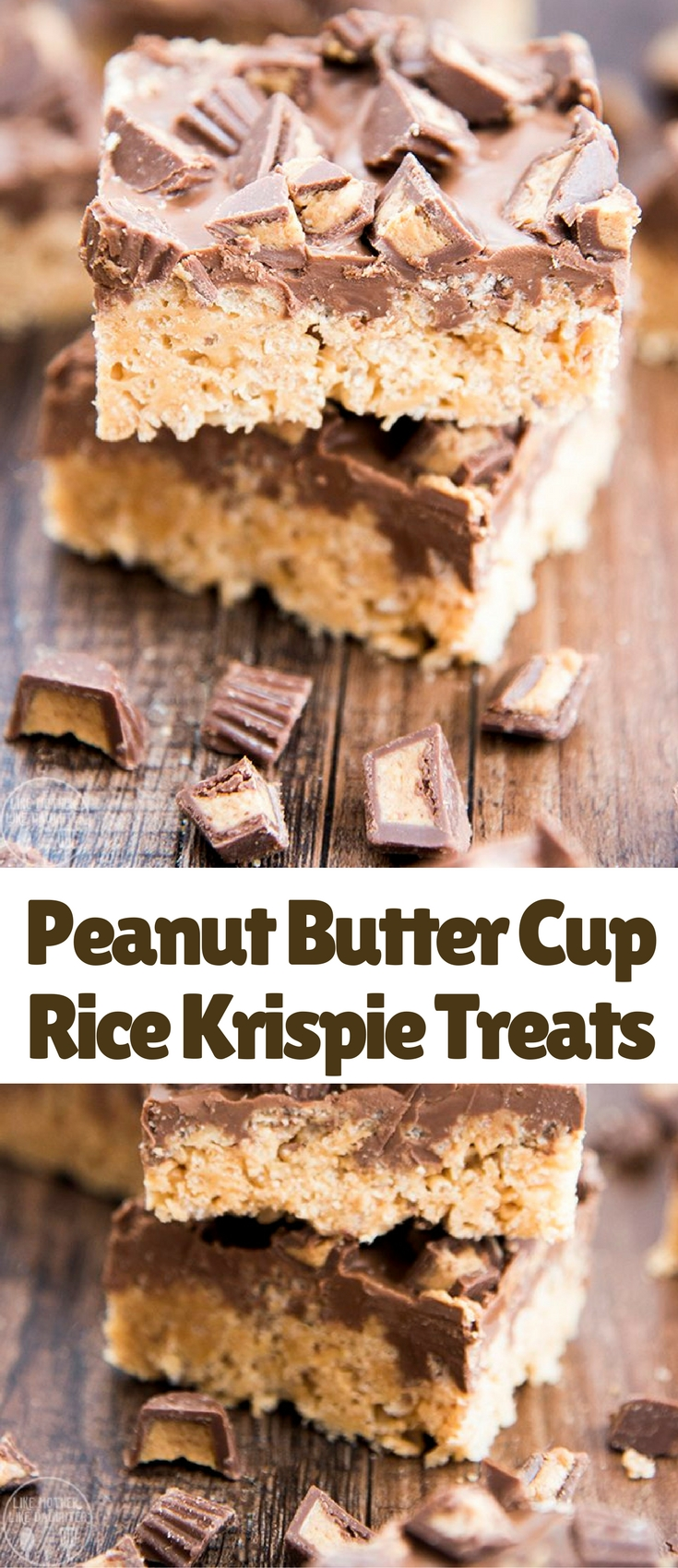 These peanut butter cup rice krispie treats are a perfect easy and delicious treat. With a peanut butter marshmallow krispie treat base, topped with a chocolate peanut butter ganache and chopped peanut butter cups!