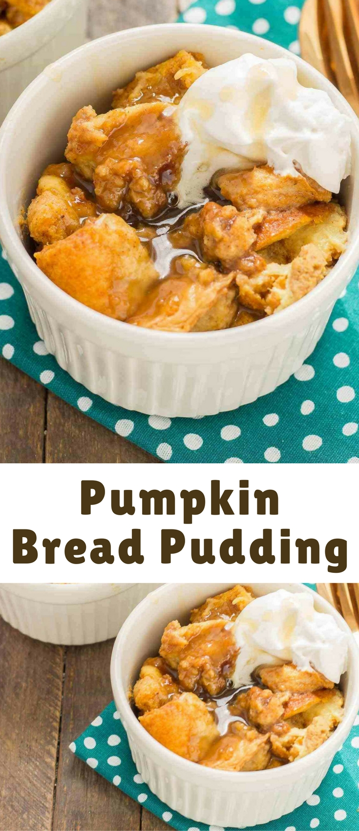 Warm and toasty, this Pumpkin Bread Pudding with Brown Sugar Sauce is pure bliss and then taken to another level with sweet brown sugar {whiskey} sauce