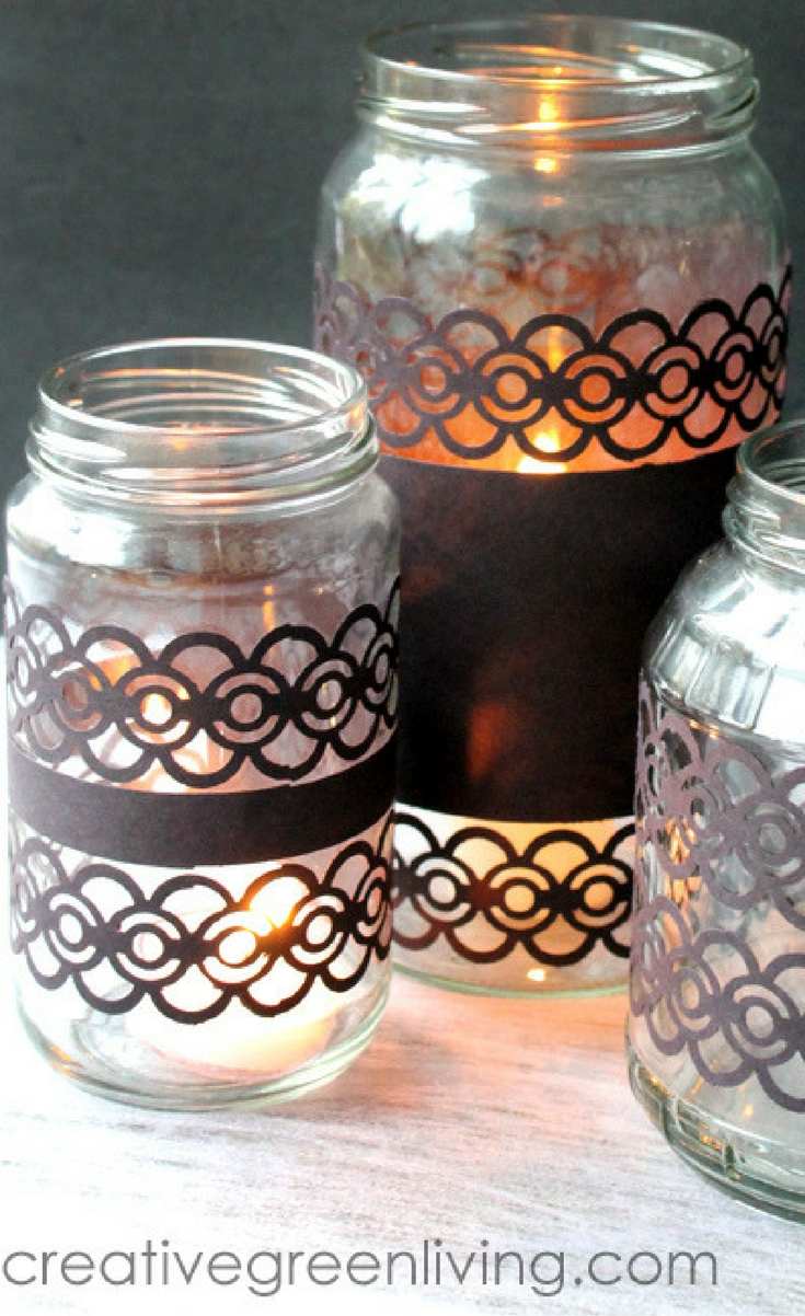 For this project, you can transform empty glass jars into lacey votive candle holders in less than 15 minutes with just a handful of supplies.