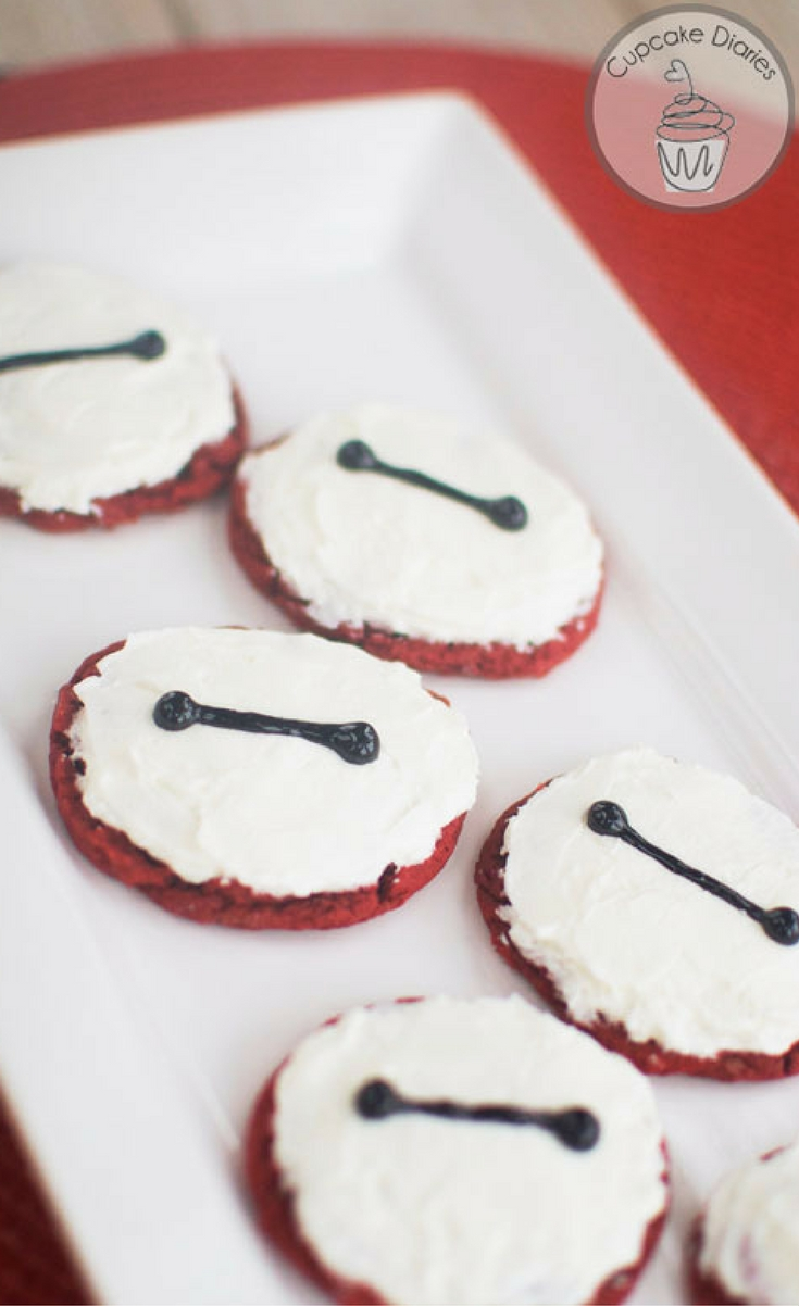 These red velvet Baymax cookies turned out so yummy and cute. And to add to all the goodness…they're easy! All you need is a red velvet cake mix and a couple more ingredients and the dough is done. So great.