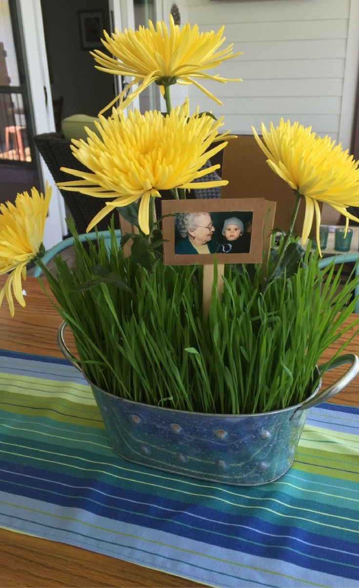 Wheat Grass Centerpieces With Picture Pops Blogger Bests