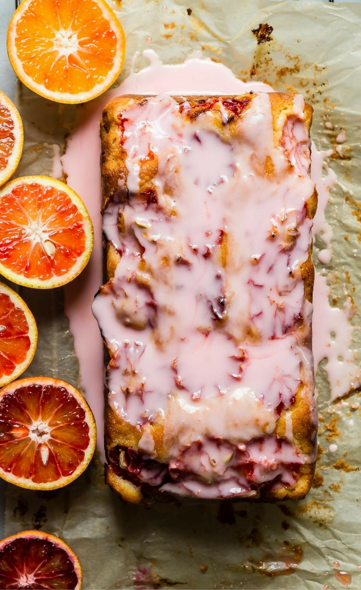 A CITRUS PACKED BLOOD ORANGE LOAF CAKE TOPPED WITH A TART BLOOD ORANGE ICING.