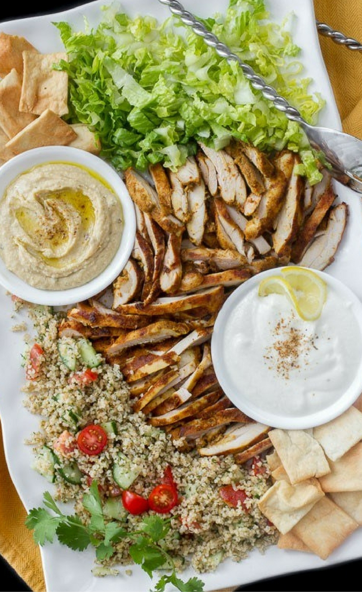 Here's an incredible Chicken Shawarma Salad that combines a few of my favorite Middle Eastern flavors – shawarma, hummus and tabbouleh, with a fantastic garlic lemon white sauce and pita chips for a little crunch.