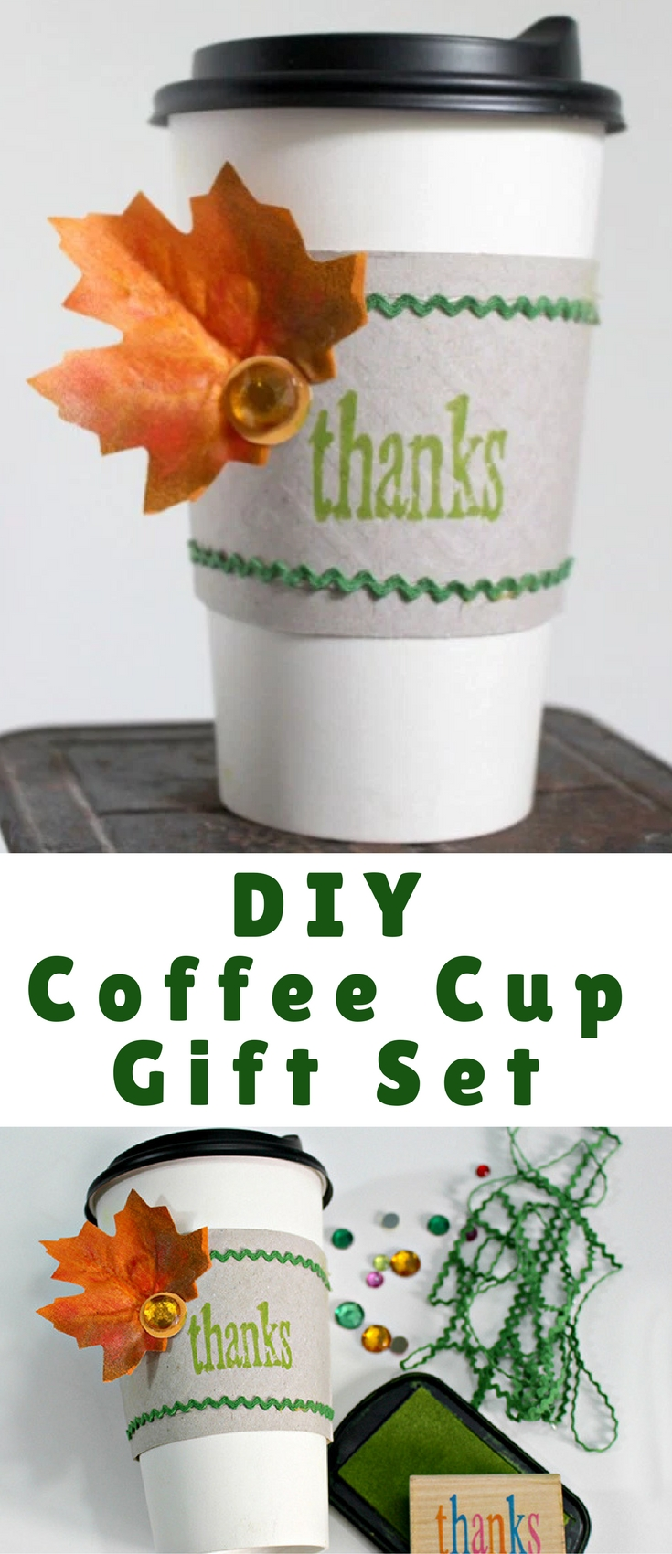 This DIY coffee cup gift set makes a unique gift for anyone who deserves a simple Thank You this holiday season. Filled with coffee gift cards, hot cocoa packets, K-cups and sweet treats, it's perfect for teachers, neighbors, hostesses, co-workers or coffee lovers on your list.
