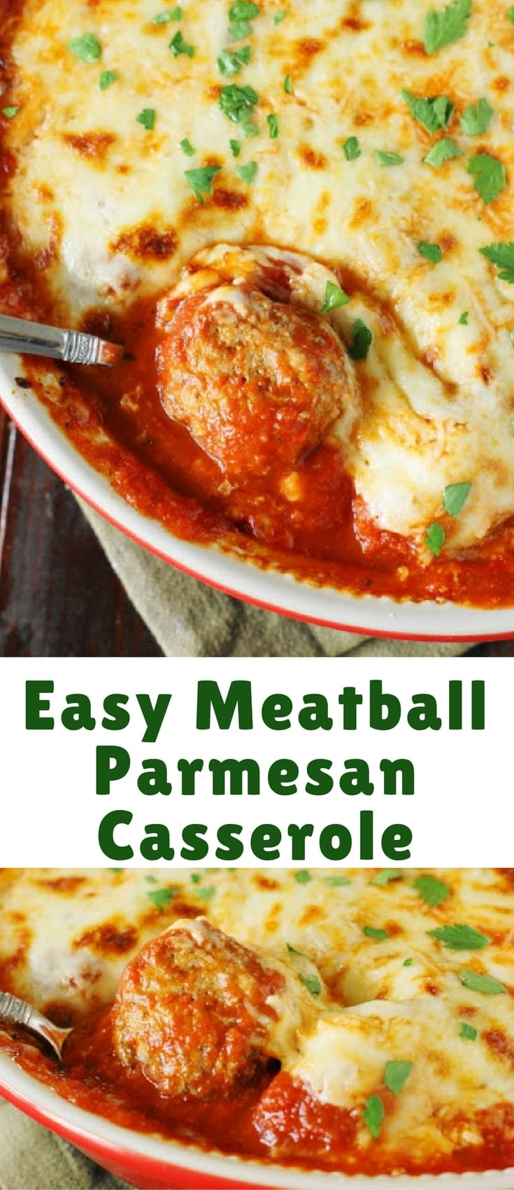 Bake up just five simple ingredients to enjoy the cheesy, saucy goodness of this Meatball Parmesan Casserole! Spoon it over noodles or warm garlic bread slices for one super easy and satisfying meal.