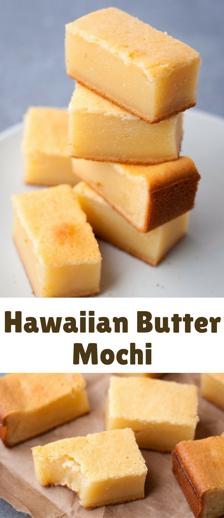 Butter mochi is a classic Hawaiian treat made with coconut milk and mochiko (glutinous rice flour). All you have to do is mix and bake!