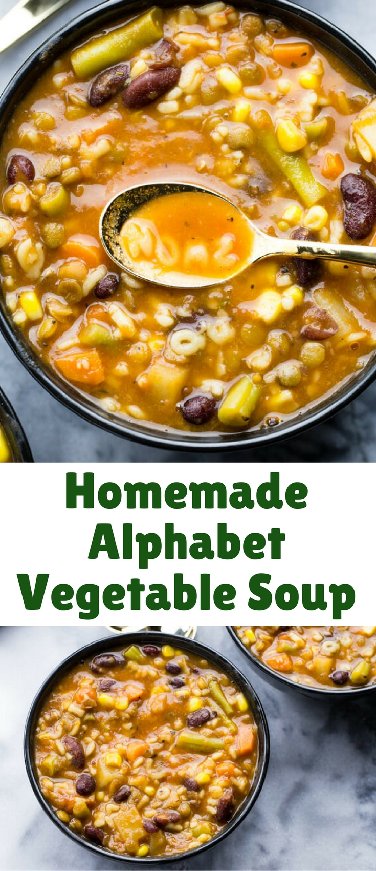 This Homemade Alphabet Vegetable Soup is a hearty, delicious spin on your favorite canned soup and is ready in just 30 minutes. It's also freezer-friendly for quick weeknight meals!