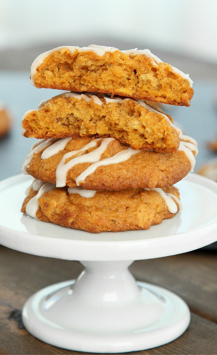 They're soft and fluffy (a rare trait for gluten-free cookies) and spiced like pumpkin pie with a drizzle of homemade sugary vanilla icing to act as a creamy sweetener a la whipped cream.