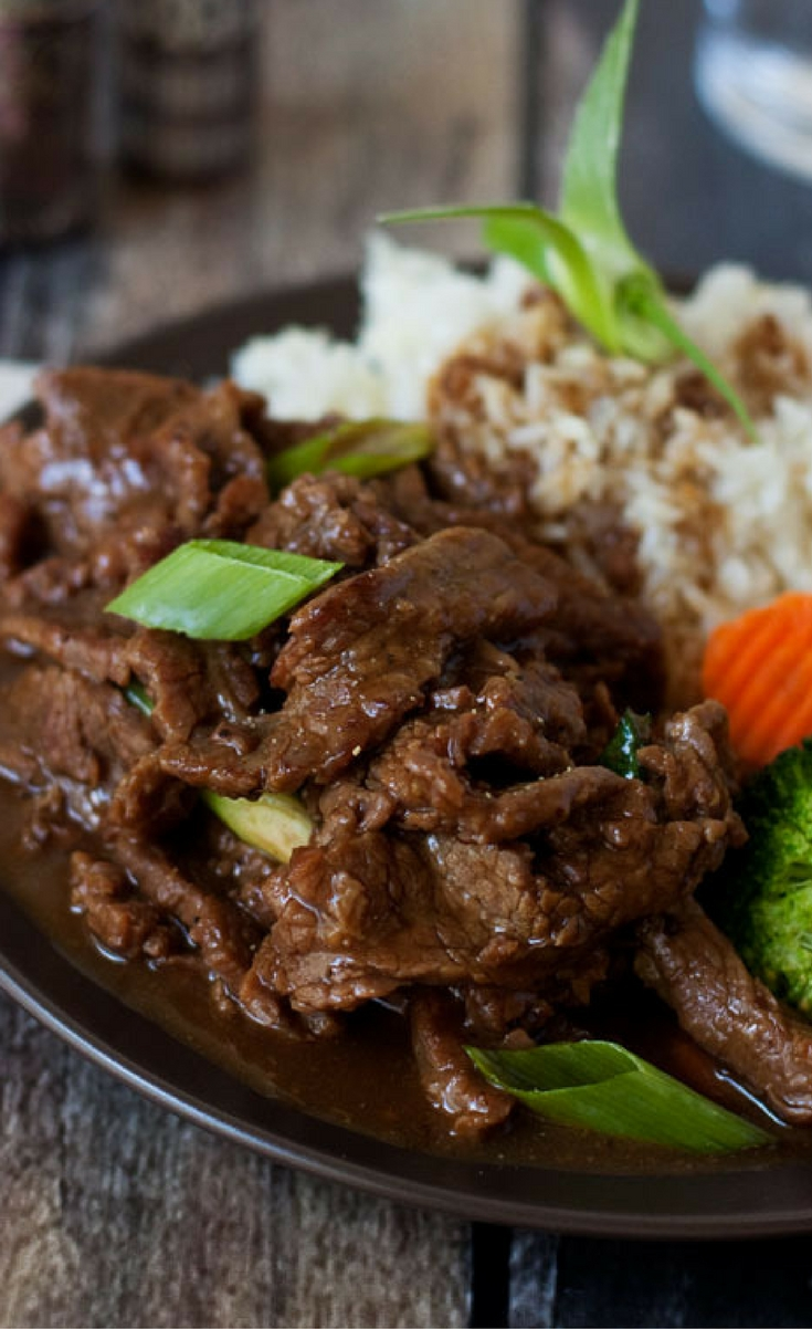 A pressure cooker version of PF Changs popular beef dish. This (Instant Pot) Pressure Cooker Mongolian Beef is made with flank steak thinly sliced then cooked in alightlysweet, garlic ginger sauce until it's melt in your mouth tender.