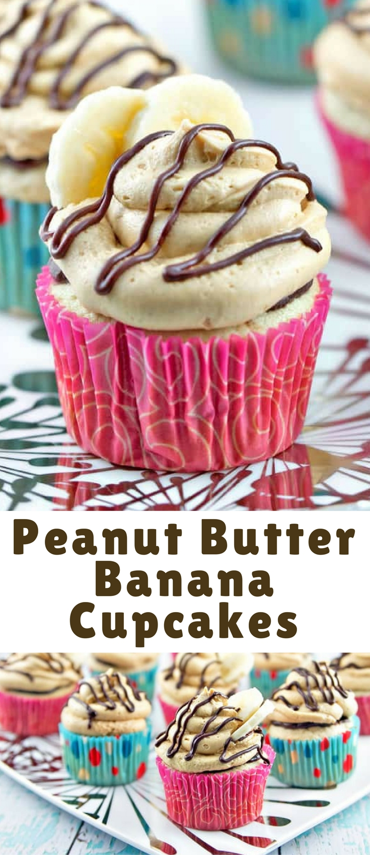Banana cupcakes filled with chocolate ganache and covered with fluffy peanut butter buttercream frosting. These are peanut butter banana cupcakes worthy of a celebration.