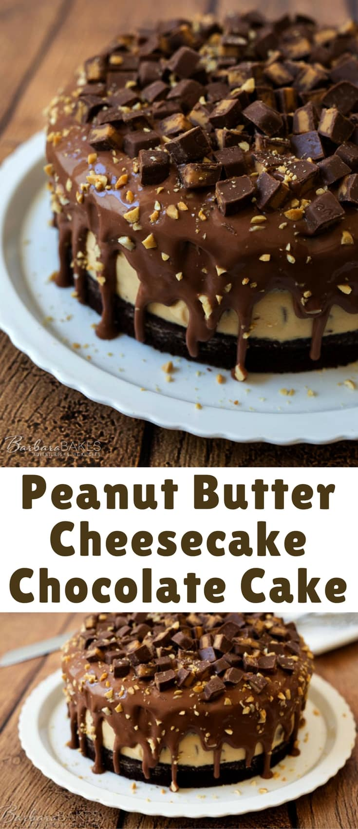 A rich, fudgy chocolate layer cake with a no-bake peanut butter cheesecake filling in the middle covered with a creamy, smooth milk chocolate ganache and finished with chopped Dove milk chocolate peanut butter candies and finely chopped peanuts.