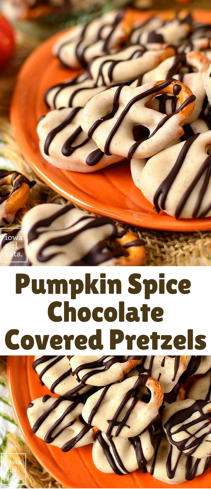 Pumpkin Spice Chocolate Covered Pretzels are absolutely irresistable…dare you to stop at just one! This easy gluten-free dessert recipe calls for just 4 ingredients.