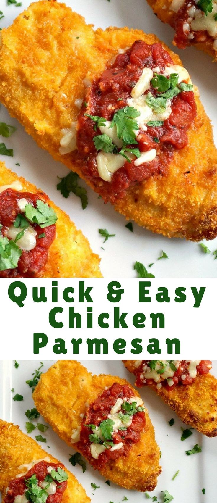 Quick easy chicken parmesan is one of those 30-minute recipes that go well with all the members of the family. A lot healthier than the fried version, but as crispy and tasty. It really ticks all boxes when it comes to a quick midweek meal.