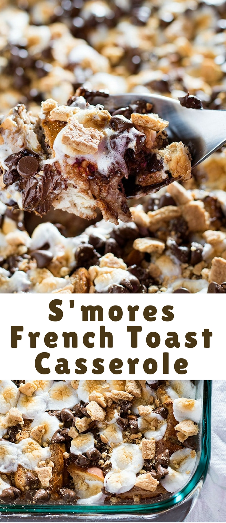 S'mores French Toast Casserole – A super decadent chocolate french toast casserole that can be made ahead! This french toast is full of chocolate chips, toasted marshmallows, and sprinkled with graham crackers to make it taste just like a s'more!