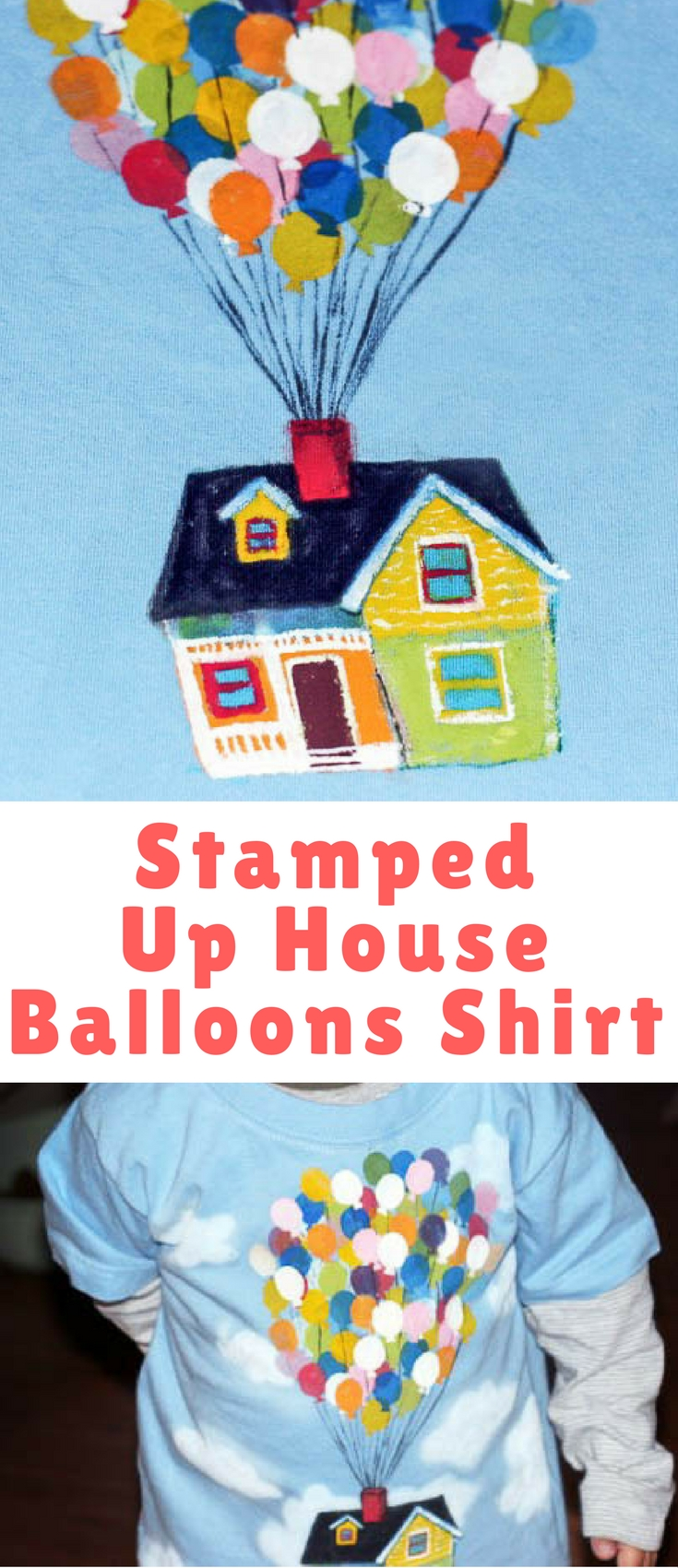 This fun Up house balloons shirt is made with homemade craft foam stamps, and is so easy even a toddler can help you make it.