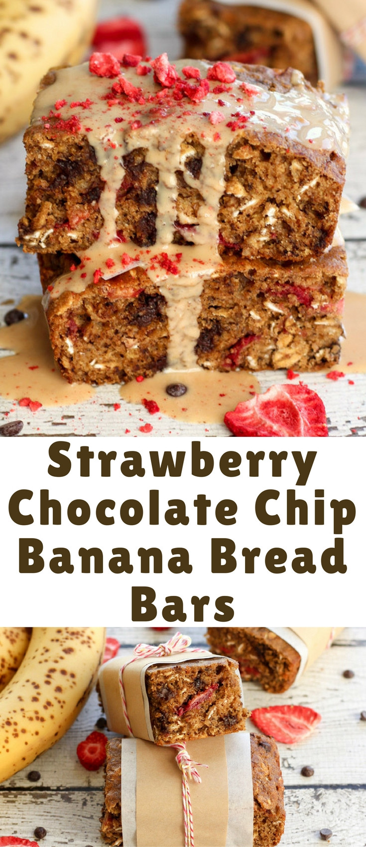 Strawberry Chocolate Chip Banana Bread Bars. Moist and hearty whole grain banana bread filled with mini chocolate chips and freeze-dried strawberries. A great take anywhere treat or afternoon snack!