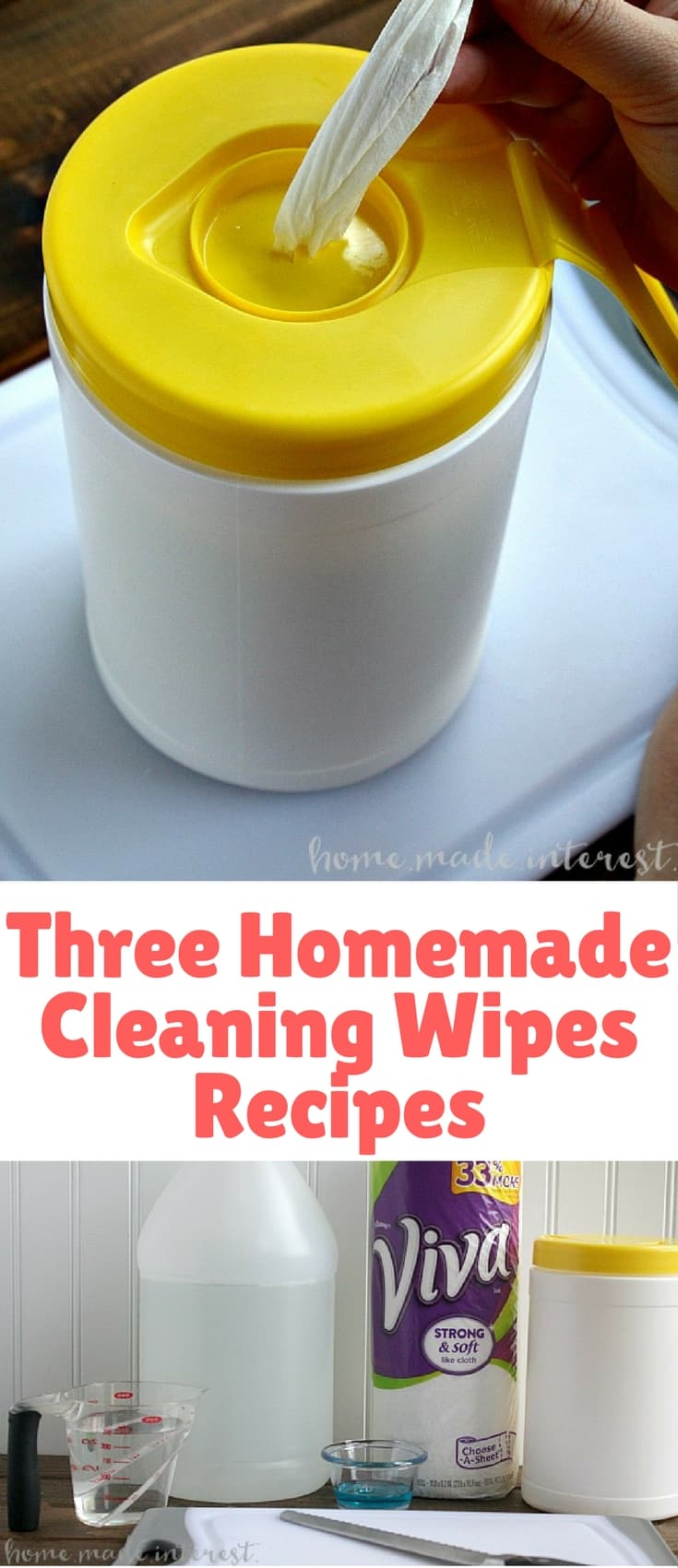 A simple tutorial with three recipes for making your own Homemade Cleaning Wipes.