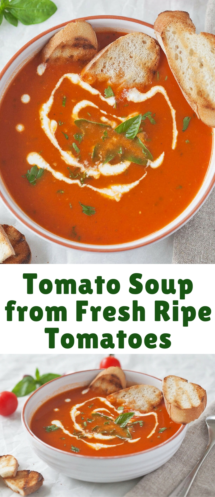 Simply amazing Tomato Soup from Fresh Ripe Tomatoes is delicious. Just 15 minutes and a couple of ingredients to make it, quick & easy!