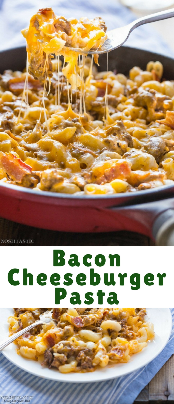 It doesn't get much better than gluten free Bacon Cheeseburger Pasta! This easy weeknight dinner cooks in less than 20 minutes.