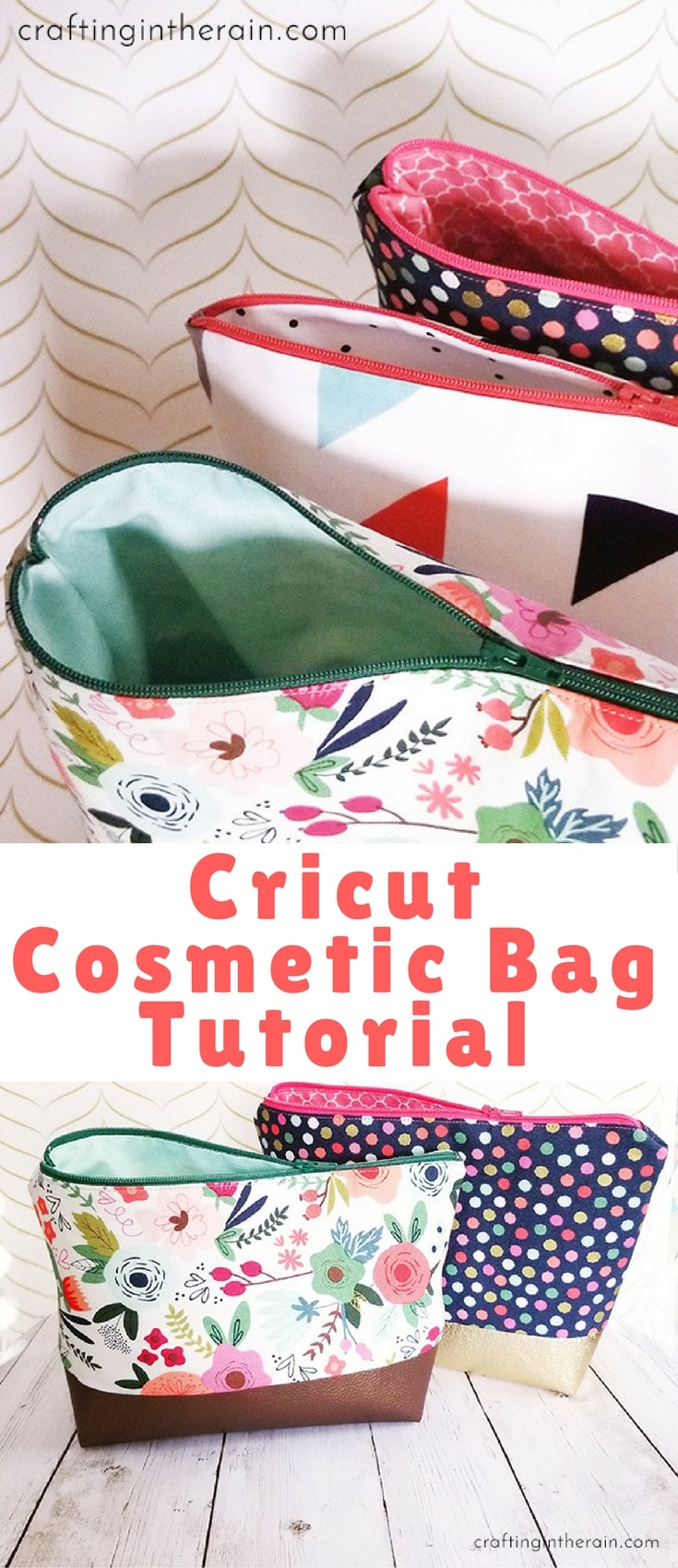 I love the cosmetic bag project from Cricut, and I have found out how to tweak it a little so that it has a lining too.