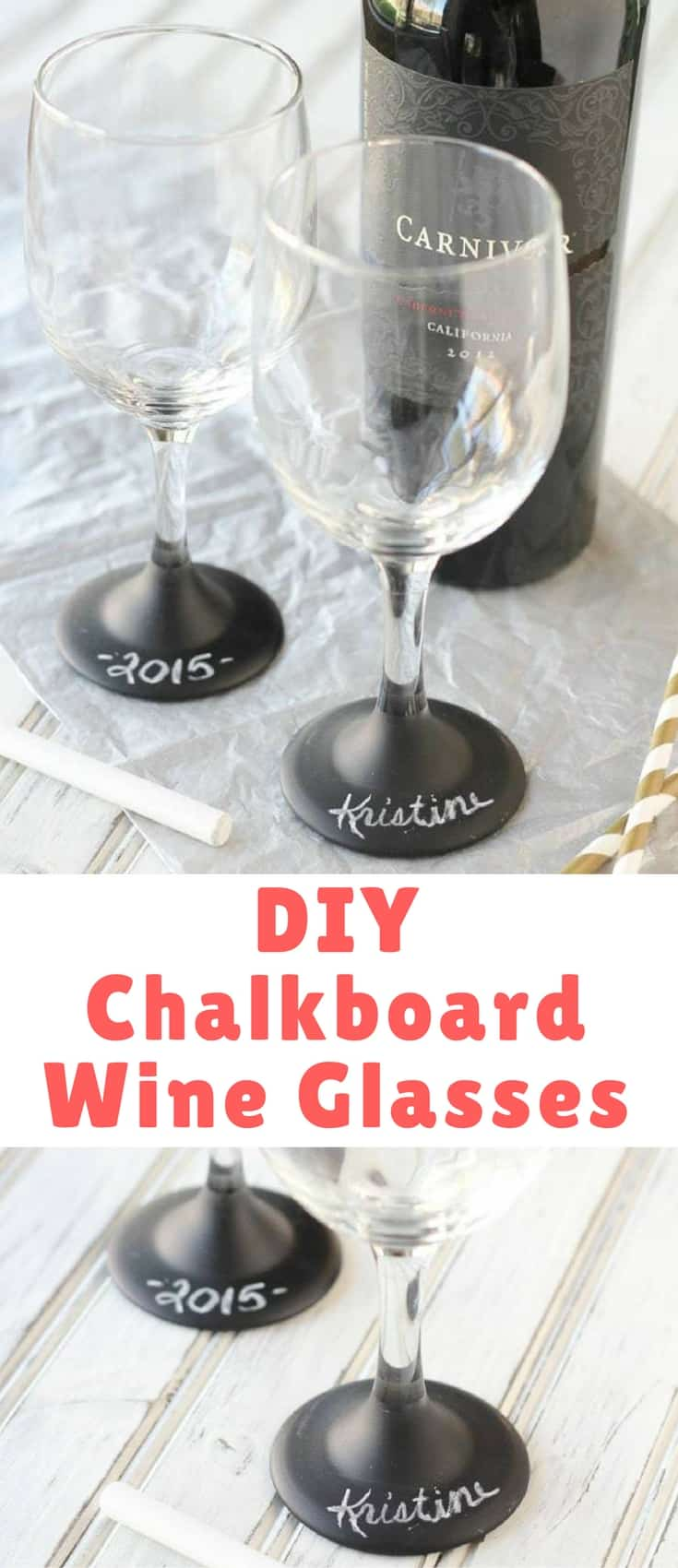 These wine glasses are probably one of my favorite little projects ever because you know me, I love to chalkboard paint anything/everything and i adore anything personalized. And they're so easy to make!
