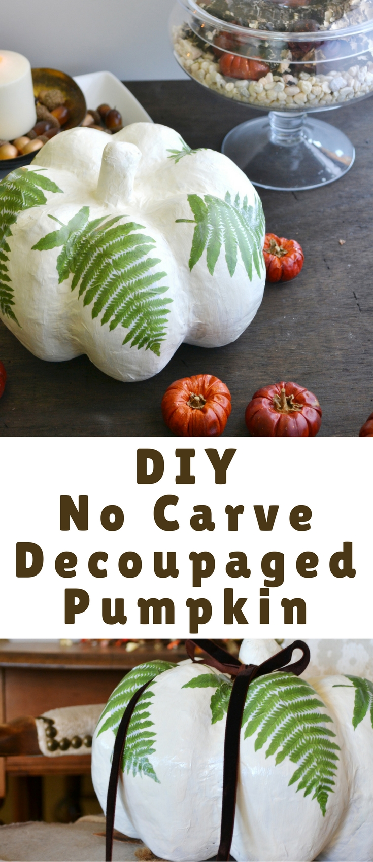 This tutorial will last for years to come, because it's on a paper mache pumpkin, but I think it would look great on a real pumpkin too, just be sure not to store it for a year. I can tell you from experience, pumpkins don't last that long!