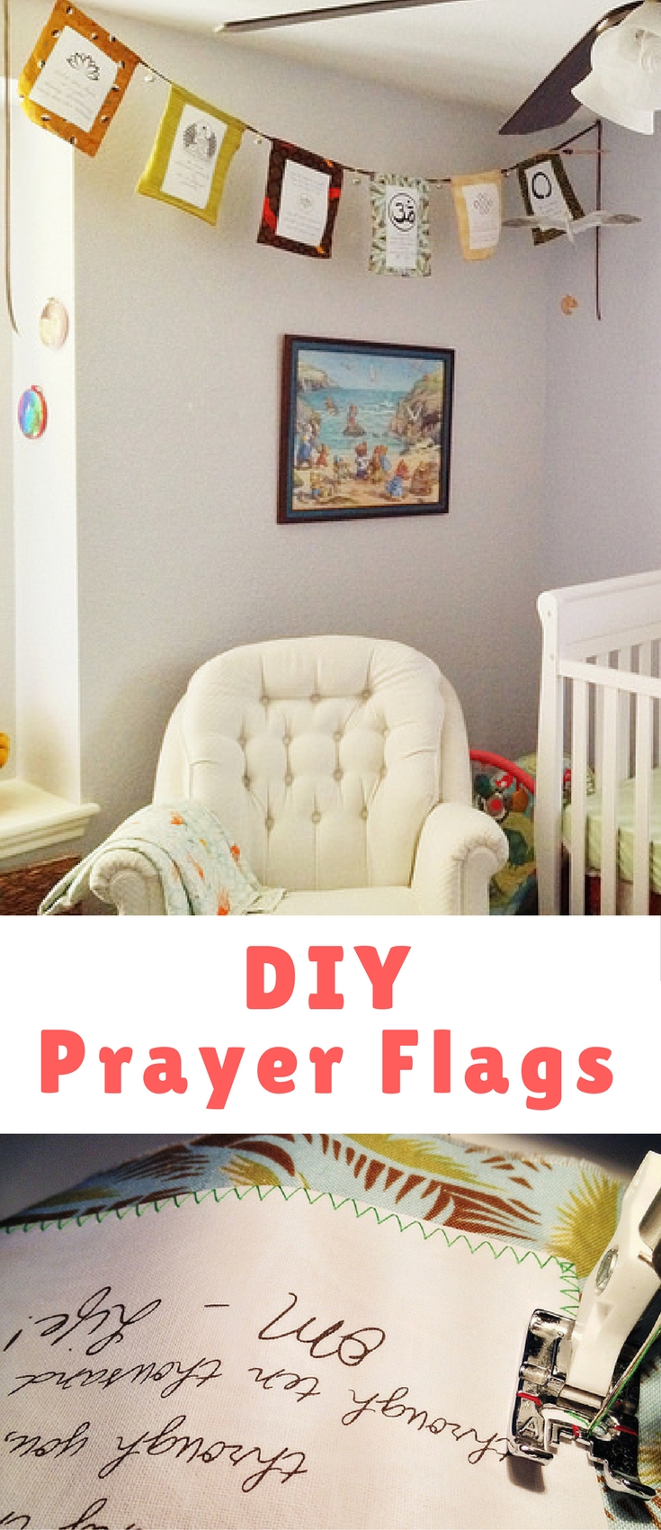 You could easily customize this project to suit any kind of sentiment or spiritual belief you like though. Bible verses, song lyrics, or famous quotes would all work nicely on prayer flags.