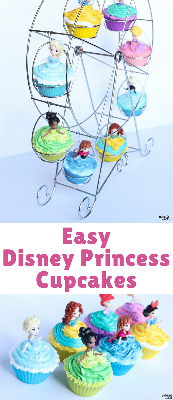 These princess cupcakes were so easy and super fun to make. With a little training, even my girls could make them.