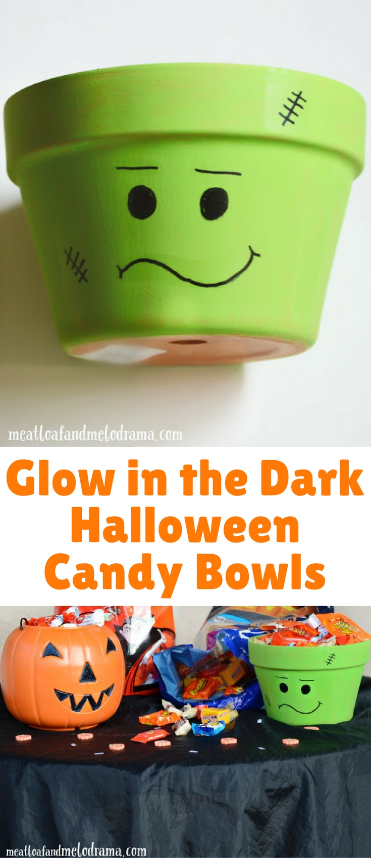 I thought it would be fun to create glow-in-the-dark candy bowls so that they would be visible outside, and I also picked up a plastic pumpkin and a terra cotta planter. Gotta love one stop shopping!