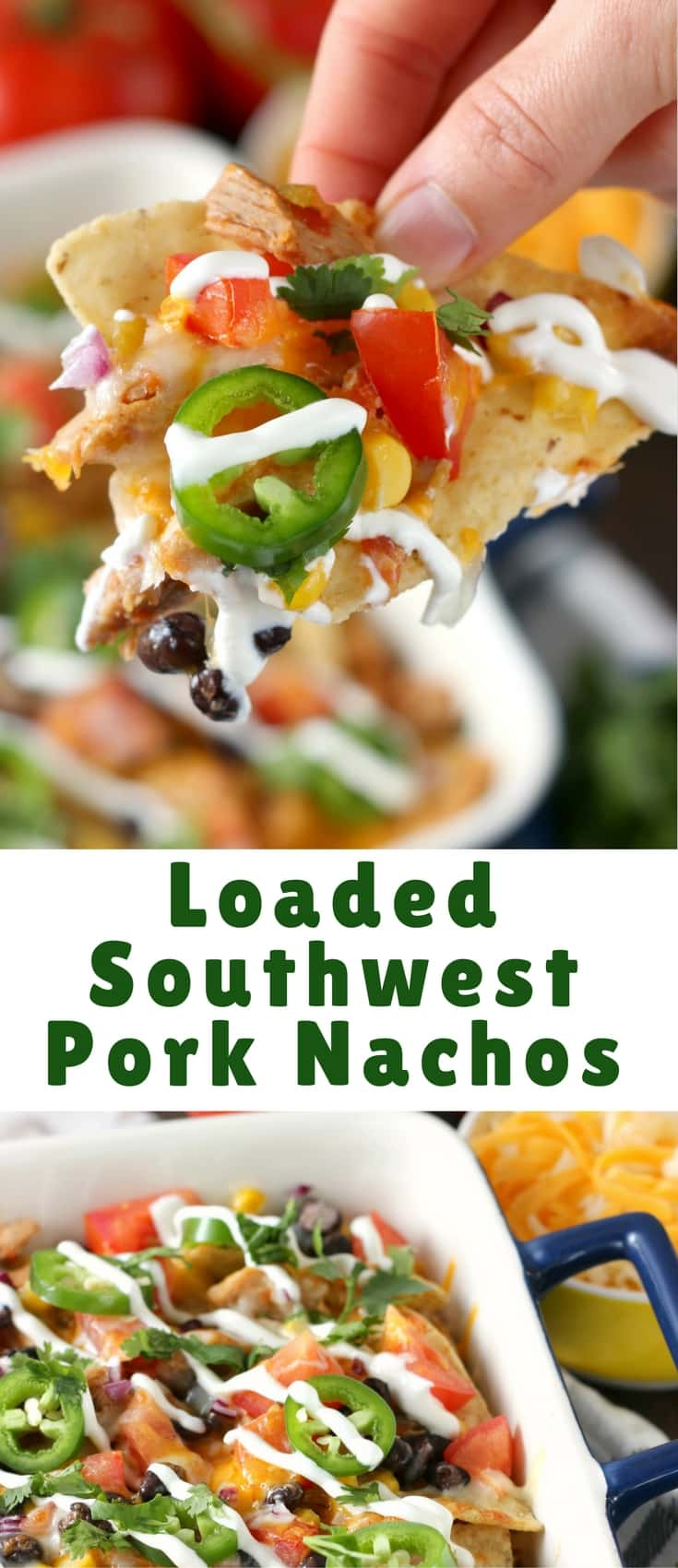 These Loaded Southwestern Pork Nachos are filled with tender, shredded pork, beans, corn, tomatoes, jalapeños, and, of course, lots of cheese! Serve these at your next game day party!