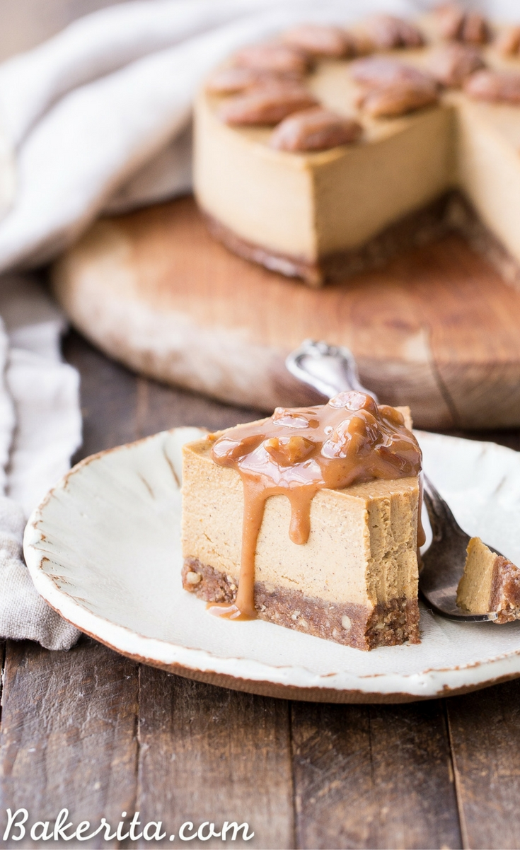 This No-Bake Pumpkin Cheesecake is super creamy with a pecan crust and a spiced pumpkin cheesecake filling that's made with cashews!