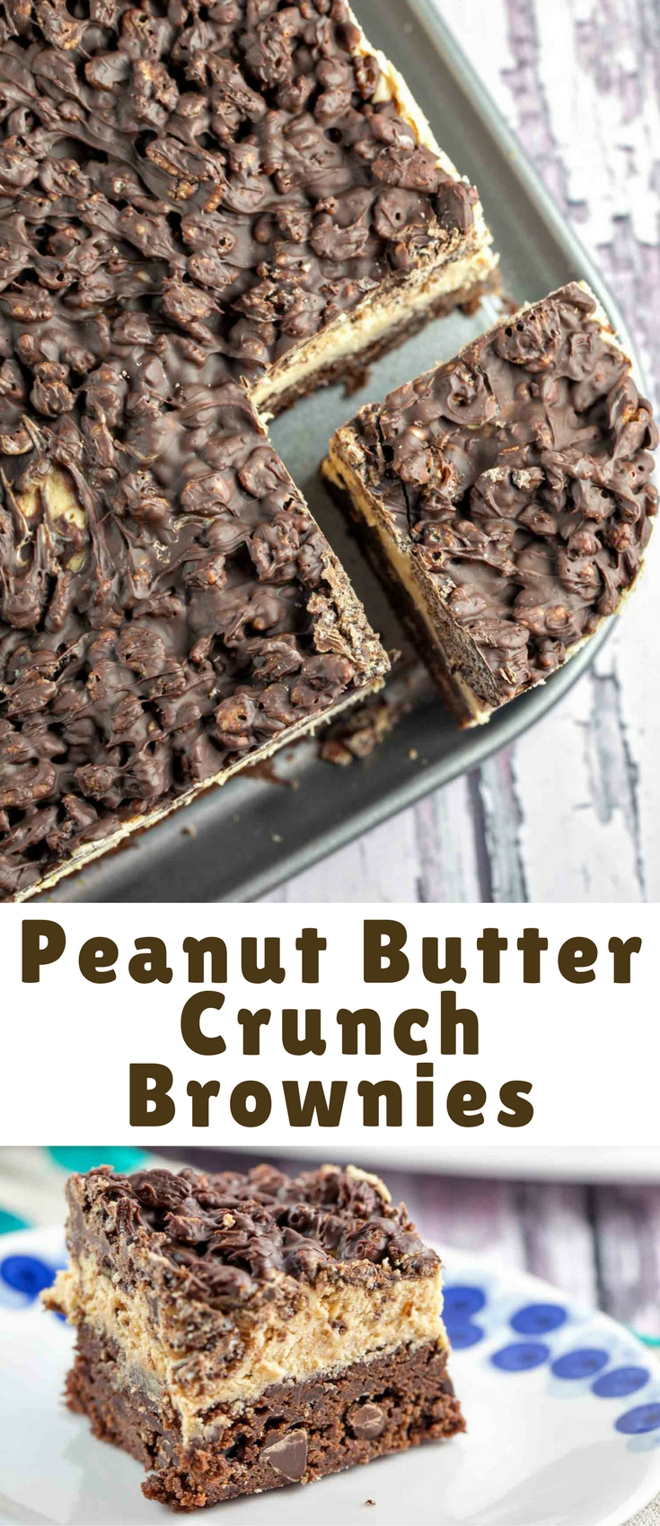 Easy homemade brownies, peanut butter ganache frosting, and a chocolate crunch layer – these peanut butter crunch brownies are a quick and easy freezer-friendly party treat!